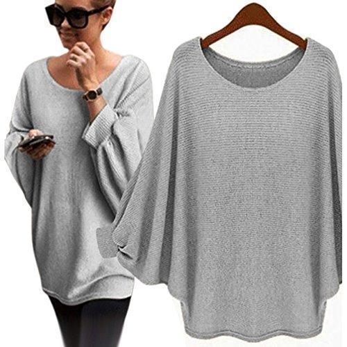 Fortan Le donne oversize Batwing lavorato a maglia Pullover allentato maglione (grigio)