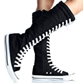 Women's Tall Canvas Lace Up Knee High Sneakers