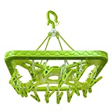 24 Clips Plastic Clothes Hanger, PegHanger- Square Design (Colours & Designs May Vary)
