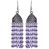 Gehna Amethyst Gemstone Faceted Bead Earrings