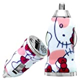 Wayzon Quality Patterned Vehical Travel iN Car Charger Adapter Plug In Bullet Shape With Naughty Kitty Cat On White Surface For Motorola SPICE Key / XT317 / XT300 / Triumph / VE66 / WILDER