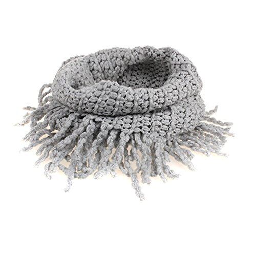 Eforcase Stylish Unisex Baby Infant Kids Toddler Boys Girls Scarf Winter Thick Neck Warmer Knitted Wool Soft Tassels Infinity Scarf Cowl Hood Shawl (Gray)