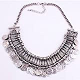 UpspiritTM Tribal Jewelry Flat Round Dangle Coin Tassel Pendant Chain Necklace For Women