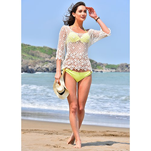 cf8e9cc0af14c MG Collection White Daisy Crochet Design Fashion Swimsuit Cover Up Beach Top