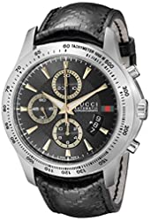 Gucci Men's YA126237 Gucci Timeless Black Diamond-Pattern Dial Watch
