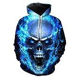 ManxiVoo Hooded Sweatshirt Men and Women Skull Hoodie Unisex 3D Printed Pullover Long Sleeve Tops Blouse (3XL, Blue)