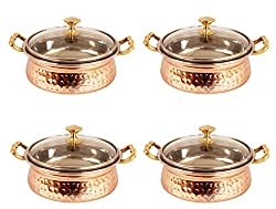 IndianArtVilla 3.5 X 6.0 X 2.5 Handmade High Quality Stainless Steel Copper Casserole Dish Serving Indian Food Daal Curry Set of 4 Handi Bowl With Glass Tumbler Lid Capacity 500 ML for use RestaurantGift Item