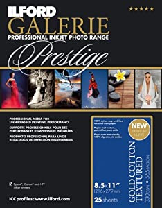 Ilford 2002394 8.5 X 11 Inches GALERIE Prestige Gold Cotton Textured, 25 Sheet Pack (Black)