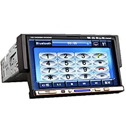 See Ouku 7-Inch Single 1 DIN In-Dash Motorized Car DVD Player Touchscreen LCD Monitor with Bluetooth Ipod Built In DVD/CD/USB/SD/analog TV tuner, AM/FM RDS Radio (None GPS) Details