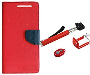 Novo Style Book Style Folio Wallet Case Micromax A114 Canvas 2.2 Red + Selfie Stick with Adjustable Phone Holder and Bluetooth Wireless Remote Shutter