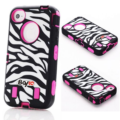 Bayke Brand Premium Armorbox Armor Defender Case for Apple iPhone 4 4G 4S Fashion Zebra Combo Print High Impact Dual Layer Hybrid Full-body Protective Case with Built-in Screen Protector (Hot Pink) at Amazon.com