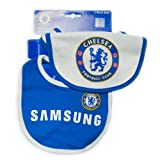 Chelsea Football Club Baby 2 Pack Bib Set (Reflex Blue/White, One Size)