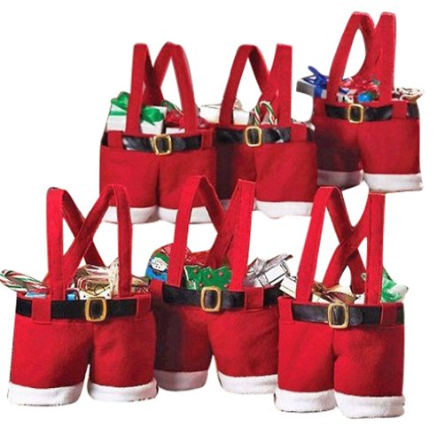 Dreamy house Set of 6 Santa Pants Gift&Treat Bag Christmas Candy Bag SD-2-1
