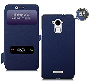 Blue Original Pudini Goldsand Series Dual Window Flip Stand Case Cover for Coolpad Note 3 with original Pudini Retail Box -- Blue