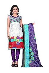 Fashionx White cotton printed unstitched dress material