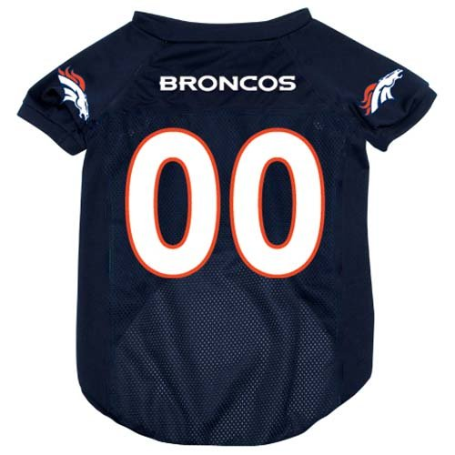 Nfl Denver Broncos Pet Jersey With Patch, Small, Team Color front-423568