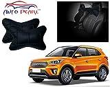 Auto Pearl- Premium Make Square Black Car Neck Cushion/Neck Pillow - Hyundai Creta
