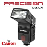Precision Design DSLR300 Universal High Power Auto Flash with Zoom/Bounce/Swivel Head for Canon Rebel XT XTi XS XSi EOS 30D 40D 50D 5D SLR Cameras