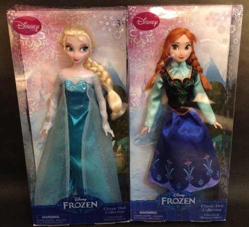 Disney Frozen Sisters Classic Doll Set Featuring 12' Dolls of Princess Anna and Elsa