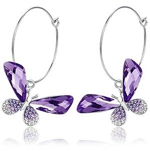 Butterfly Hoop Swarovski Elements Crystal Earrings (Purple) 1061801