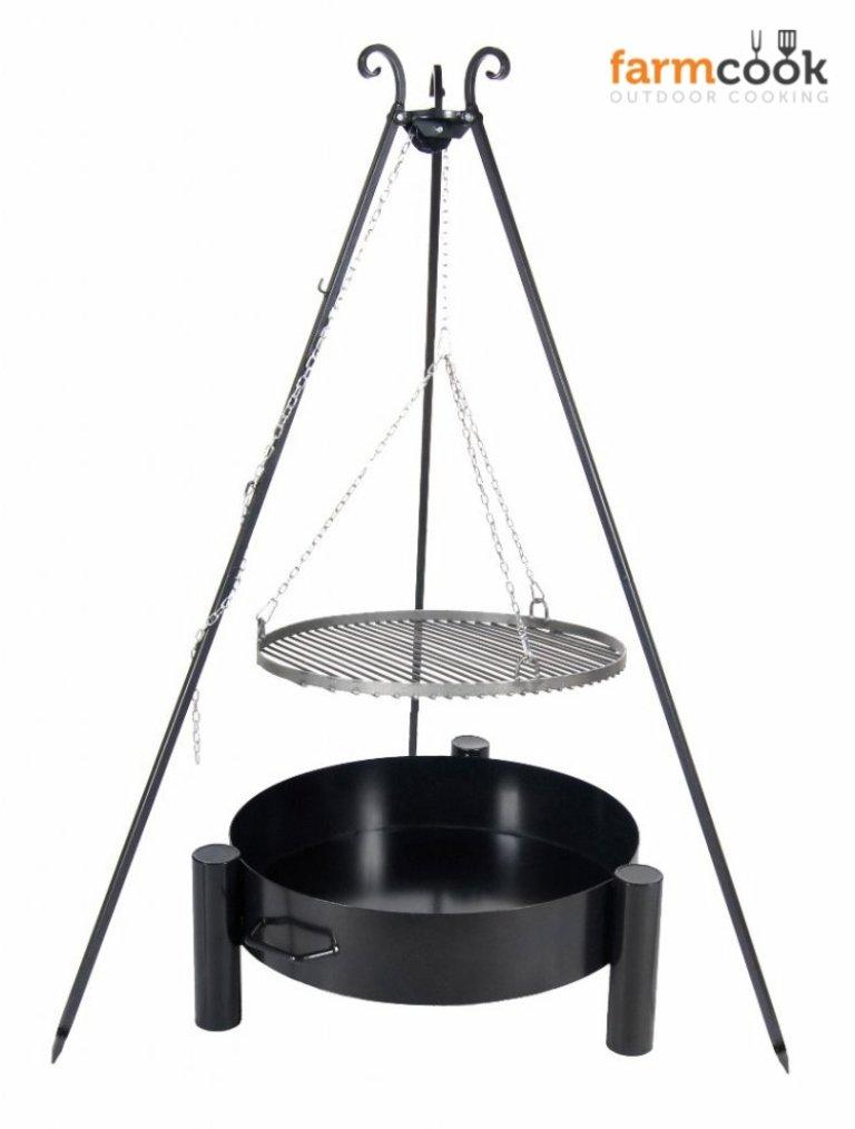 Dreibein Grill VIKING Höhe 180cm + Grillrost aus Rohstahl Durchmesser 50cm + Feuerschale Pan33 Durchmesser 60cm online kaufen
