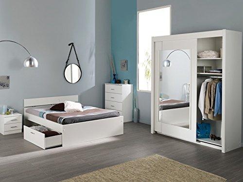 Jugendzimmer Inaco 111 weiß, Schlafzimmer 4-teilig, Schwebetürenschrank, Bett 140cm, Kommode, Nako bestellen