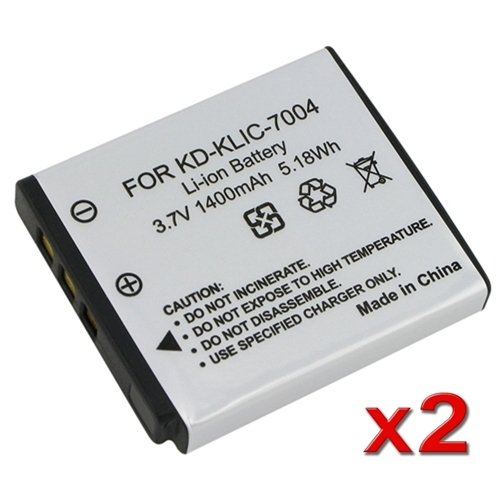 eForCity Multipack (2 Count): Superior Quality Replacement Battery for Specific Digital Camera and Camcorder Models / Compatible with Kodak KLIC-7004, EasyShare M-Series: M1033, M1093 IS, V-Series: V1073,V1233,V1253,V1273, Pocket Video Cameras Zi-Series: Zi8, Fujifilm FinePix F100fc, F200EXR, F50fd, F60fd, F70EXR, Pentax Optio A36, S10, S12, A40