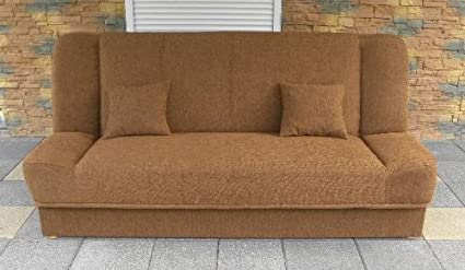 Brand New Sofa - Brown Sofa Bed Maddy with bedding place and 'clic-clak' mechanism. Any colors