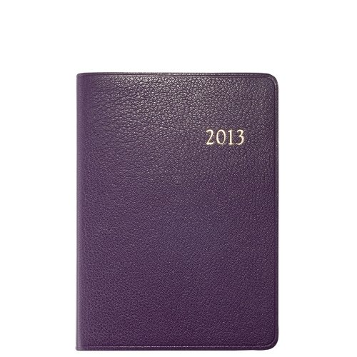 2013 Yearly Notebook, Agenda, Event & Travel Information, Genuine Goatskin Leather, 7″, Purple