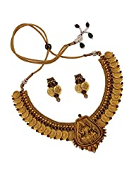 Sthrielite Traditional Temple Kemp Stone Lakshmi Coin Necklace Set