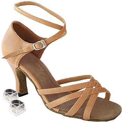 Very Fine Women's Salsa Ballroom Tango Latin Dance Shoes Style 1606 Bundle with Plastic Dance Shoe Heel Protectors, Beige Leather, Heel 3 Inch, 10 M US