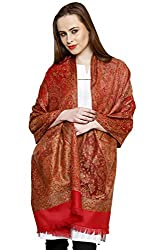 Uniscarf Red Reversible jamawar Acrylic winter stole with fringes