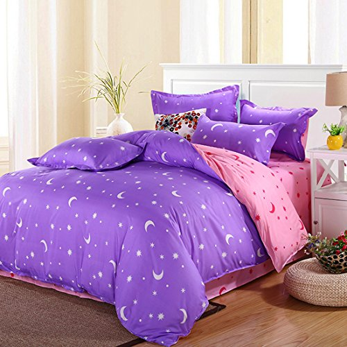 uxcell® Moon Stars Pattern Pillowcase Quilt Cover Bedding Set Queen Purple (Queen Quilt Set Purple compare prices)
