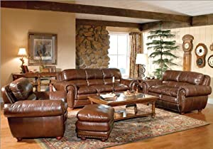 Leather Italia U.S.A. 9676- X Aspen 4 Piece Leather Living Room Set with Nailhead Trim
