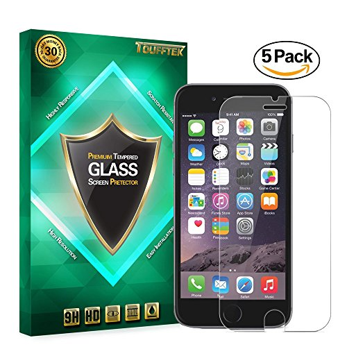 TouffTek HD Clear Tempered Glass Screen Protector for iPhone 6 and 6S (4.7 inch ONLY), Fit 99.9% Touch Accurate, Special Gift - Easy Aligning Tool, 0.3mm-(5 Packs)
