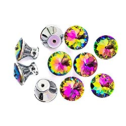 Spriak Cabinet Dresser Crystal Glass Drawer Hardware Cupboard Wardrobe Knobs Door Pull Handle 10 Pcs Package 30mm Rainbow Color