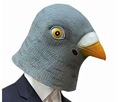 [Blue Elep / Creepy Pigeon Head Mask Latex Prop Animal Cosplay Costume Party Halloween] (Party City Animal Costumes)