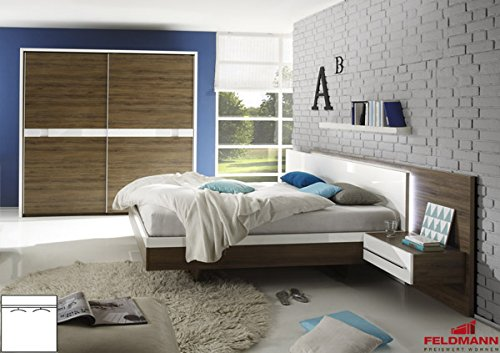 Schlafzimmer komplett 4-teilig mit Schwebetürenschrank 54105 santana eiche dunkel / weiß Hochglanz kaufen