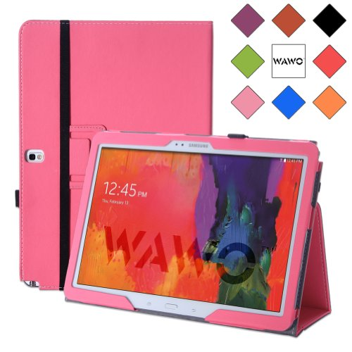Samsung Galaxy Note & Tab Pro 12.2 Case - Wawo Premium Pu Leather Folio Case For Samsung Galaxy Notepro & Tabpro 12.2 Inch Android Tablet (With Smart Cover Auto Wake / Sleep) - Pink front-1059828