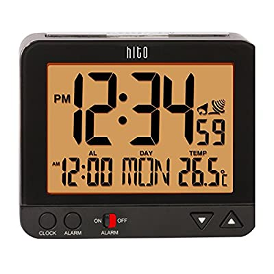 HITO™ Atomic Radio Controlled Travel Alarm Clock w/ Date, Temperature, Week, Alarm Status, Backlight + Smart Auto Light- Battery Operated