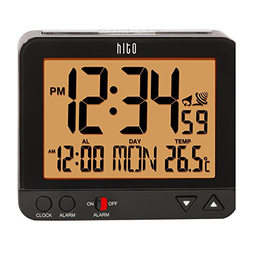 HITO™ Atomic Radio Controlled Travel Alarm Clock w/ Date, Temperature, Week, Alarm Status, Backlight + Smart Auto Light- Battery Operated (orange backlight-Black)