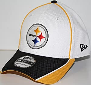 Pittsburgh Steelers New Era 39THIRTY Abrasion Plus Fitted Hat - White by New Era