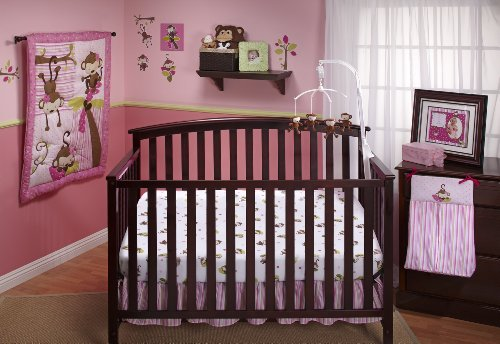 Little Bedding by NoJo 3 Little Monkeys 10 Piece Crib Bedding Set, Girl