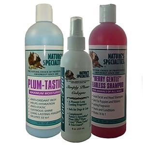 Doggidogi Nature's Specialties Berry Gentle Shampoo, Plum Tastic Conditioner & Foo Foo Simply Plum Cologne Set