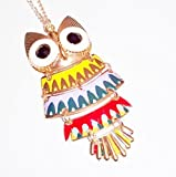 Large multi coloured enamelled owl pendant necklace fashion jewellery