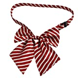 Man Red White Stripes Pattern Polyester Bowknot Halter Neck Bow Tie