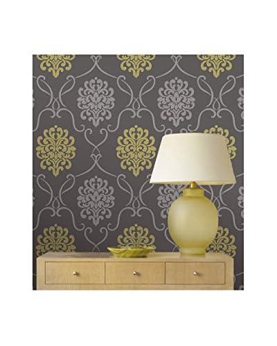 Brewster Modern Damask Strippable Wallpaper, Grey