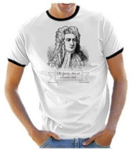 """Coole-Fun-T-Shirts - Maglietta da uomo con immagine di Isaac Newton e scritta """"Oh Gravity, Thou Art A Heartless Bitch"""" (Oh gravità, tu sei una donnaccia senza cuore), serie TV Big Bang Theory, con bordi a contrasto, Bianco (herren ringer), M"""