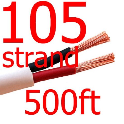 Indoor/Outdoor In Wall Or Direct Burial Home Audio 14/2 Awg Gauge 500 Ft Cl3 Speaker Wire Or Low Voltage Lighting Cable - Oxygen Free Copper - 105 Strand Count - Made In The Usa! White