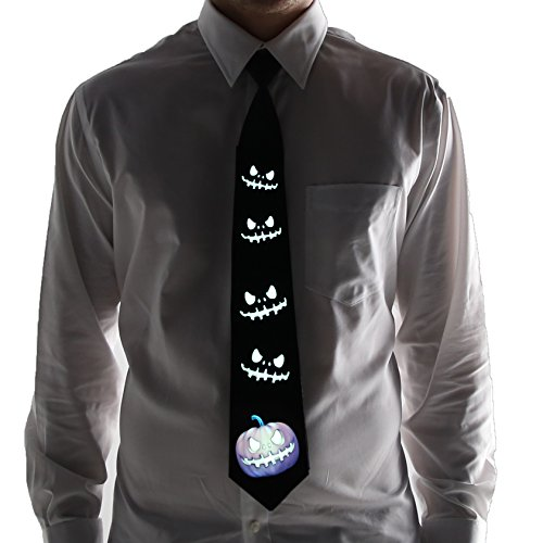 Halloween Pumpkin Light Up Necktie